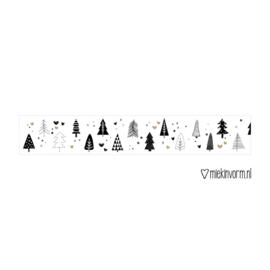 Washi / masking tape - Kerst - Kerstboompjes goudfolie