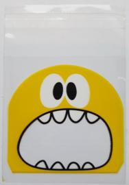 Zakjes - koekjes- / snoepjesmonster - geel per stuk