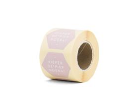 Stickers - Hieper de piep hoera! - soft pink per 10 stuks