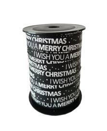 Lint - Kerst - krullint 'I wish you a merry Christmas' - zwart 10mm - 3m