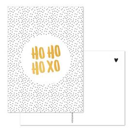 Kaart - Kerst - HO HO HO XO - goudfolie
