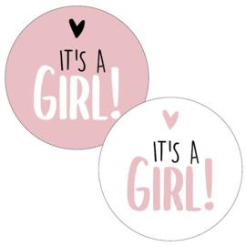 Stickers - It's a GIRL! - pink assorti - per 5 stuks