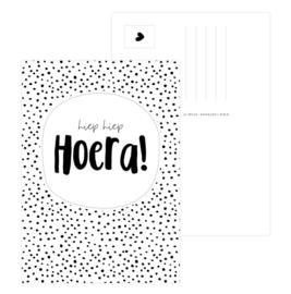 Kaart - hiep hiep HOERA! - dots
