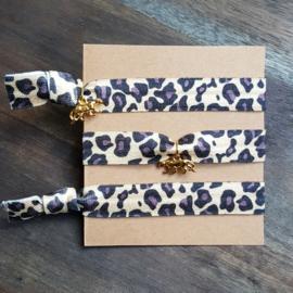 Armbandje - IBIZA -  luipaard mat goud - met of zonder bedel
