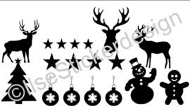 Raamstickers - diverse Kerst - herbruikbaar - wit