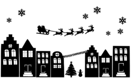 Raamstickers - straatje Kerst herbruikbaar - zwart