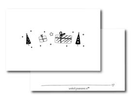 Minikaartje - Kerst - boompjes en pakjes