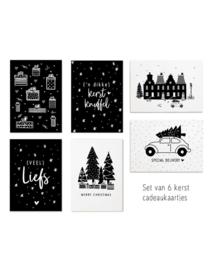 Minikaartjes - Kerst - cadeaukaartjes - 6 stuks