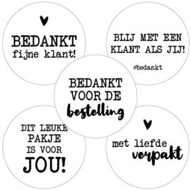 Stickers - Bedankt fijne klant! - assorti - per 10 stuks