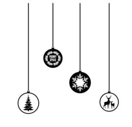 Raamstickers - Kerstballen - herbruikbaar - zwart