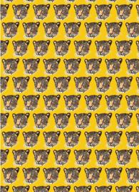 Inpakpapier - Panterkoppen geel - 31 x 71 cm