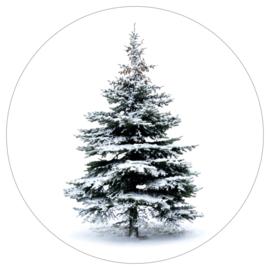 Muurcirkel - Pine tree - wit - 20 cm