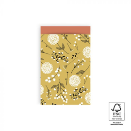Kadozakje - Flowers big - yellow / warm red - per 5 stuks (12x19cm)