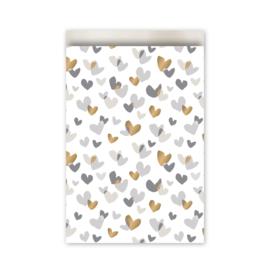 Kadozakje - Duo Hearts - goud / grijs - per 5 stuks (17x25cm)