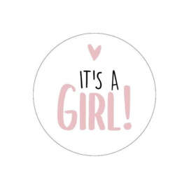 Stickers - It's a GIRL! - pink - per 5 stuks