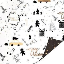 Inpakpapier - Kerst - Holly jolly Christmas - zwart / goud & stars - 2m