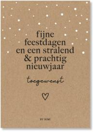 Kaart & envelop - Kerst - Fijne feestdagen en stralend & prachtig nieuwjaar toegewenst
