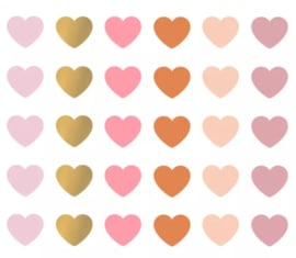 Stickers - Mini Hearts - multicolor roest - per 10 stuks