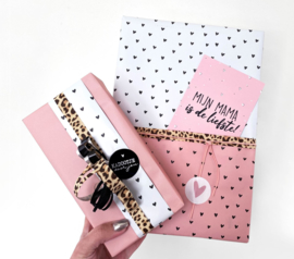 Inpakpapier - Hartjes - mat roze - 2m
