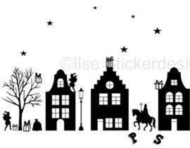 Raamstickers - straatje Sinterklaas herbruikbaar - wit of zwart