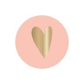 Stickers - roze met gouden hartje - per 5 stuks