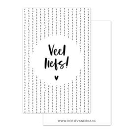 Minikaartje - Veel liefs! - wit