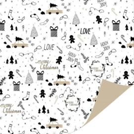 Inpakpapier - Kerst - Holly jolly Christmas - 2m