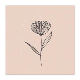 Minikaartje - Bloem nude