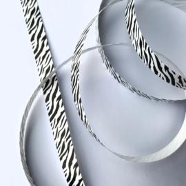 Lint - krullint print zebra / zwartwit 10mm - 3m