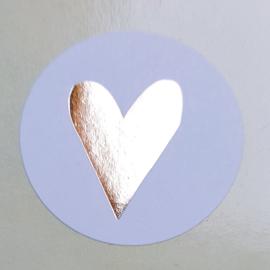 Stickers - wit met gouden hartje - per 10 stuks
