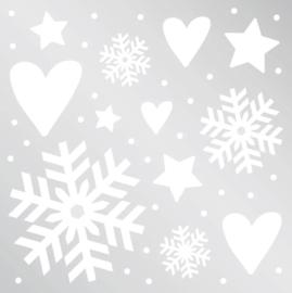 Raamsticker - Kerst / Winter - wit