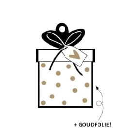 Label - Cadeautje - goudfolie