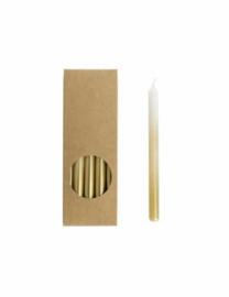 Kaars - potlood lang - wit / goud - per stuk