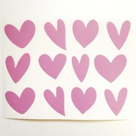 Stickervel - hartje assorti - roze 12 stuks