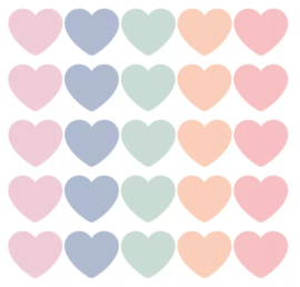 Stickers - Sow&Grow Hearts - pastel - per 10 stuks