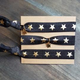 Armbandje - IBIZA - zwart gouden sterretjes - met of zonder bedel