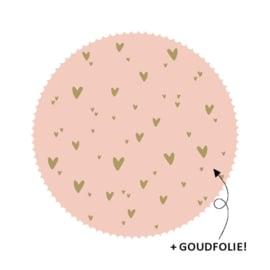 Stickers - zegel roze met gouden hartjes - per 5 stuks