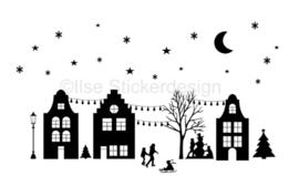 Raamstickers - straatje Sinterklaas herbruikbaar - wit