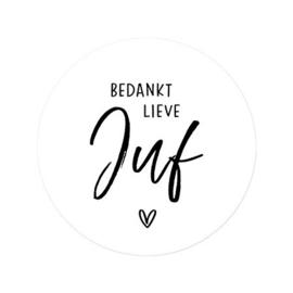 Sticker - Bedankt lieve juf - 🤍 - per 5 stuks