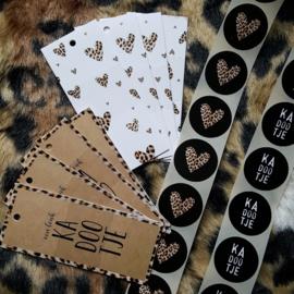 Stickers - zwart met hartje panterprint - per 5 stuks