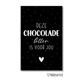 Minikaartje - Sint - Deze chocolade letter is voor jou