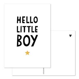 Kaart - Hello little boy - goudfolie