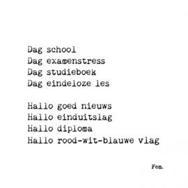 Kaart & Envelop - Dag school, hallo diploma