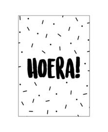 Kaart - HOERA! - wit