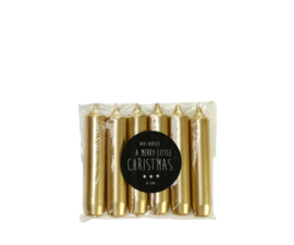 Kaars - mini diner 6 stuks - goud