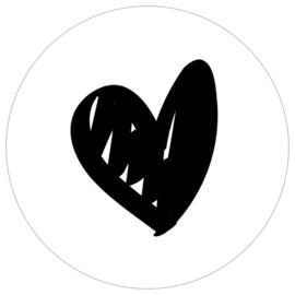 Muurcirkel - Hart - wit - 20 cm