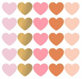 Stickers - Hearts - multicolor roest - per 10 stuks