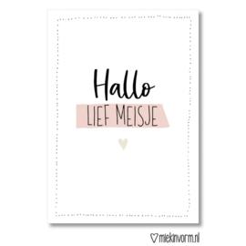 Kaart & Envelop - Hallo lief meisje