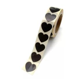 Stickers - Mini Hearts - zwart - per 10 stuks