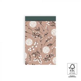 Kadozakje - Flowers big - pink / petrol - per 5 stuks (12x19cm)